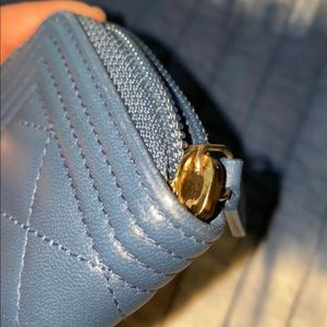 CHANEL Bags - Dark Blue BoyQuilted Card Wallet